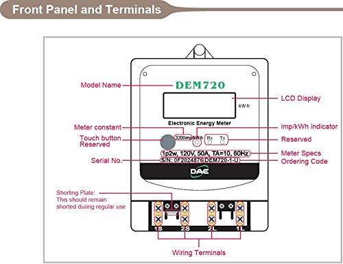DAE DEM720-1 Electric kWh Submeter, Internal CT, 1P2W (1 hot