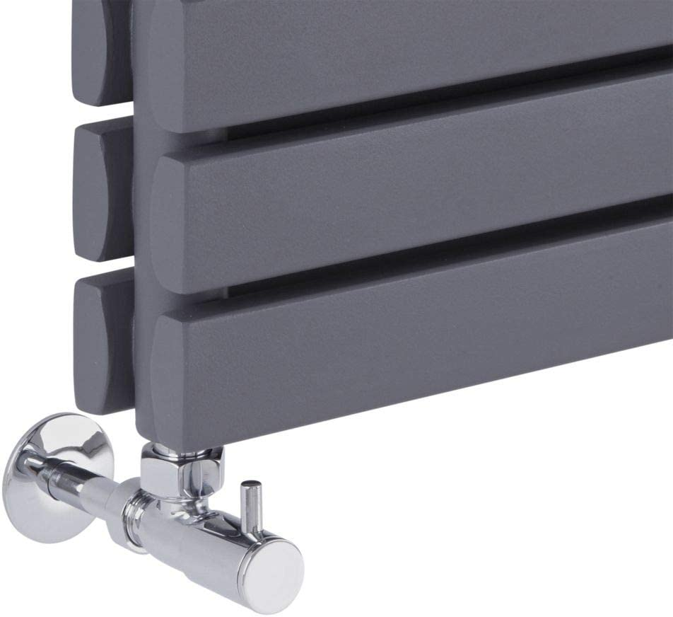 Milano Pair 15mm Modern Chrome Straight Heated Towel Rail Radiator Valves