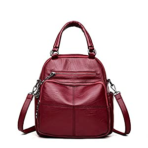 2018Woman Backpack Leather Brands Female Backpacks Schoolbag Backpack Elegant Escolar Feminina Wine Red