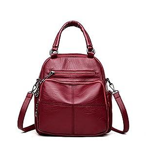 2018Woman Backpack Leather Brands Female Backpacks Schoolbag Backpack Elegant Escolar Feminina Wine Red
