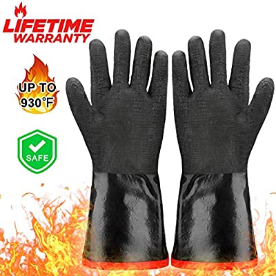 Zechzehn BBQ Gloves - Double Layer Heat Resistant Gloves for Handling Hot Food on Fryer, Grill, Smoker or Oven, Grill Gloves Fire Resistant for Cooking, Waterproof and Oil Resistant BBQ Mitts