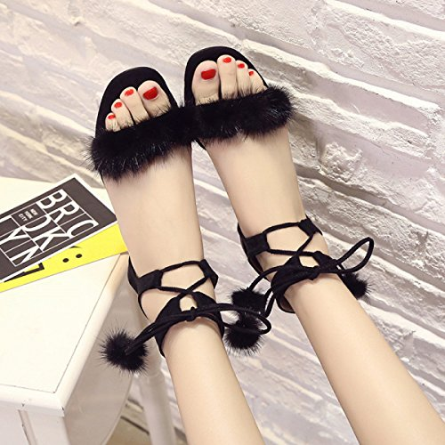 Open Cross Hair Ball Sandals belt toed Black Flat wrptnqw1