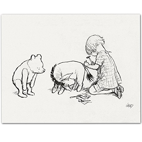 Make Em Laugh Fixing Eeyore's Tail - Winnie the Pooh 11x14 Unframed Nursery Art Print (Crystal Eeyore)