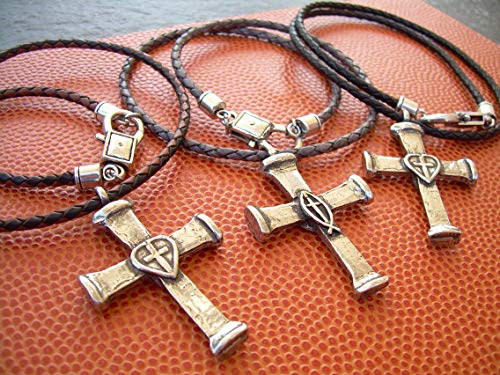 (Hand Made Braided Leather Necklace with Antique Silver Toned Reversible Christian Heart Fish Cross Pendant)
