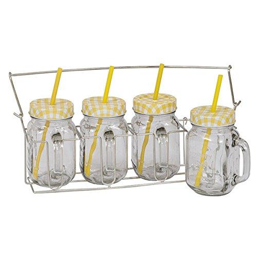 Yellow Checkerboard Jar Drinkware Set of 4