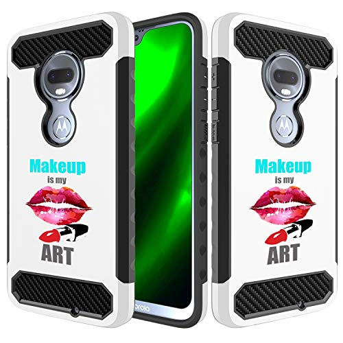 [Inkmodo] Moto G7 Case - Unique Dual Layer Full Protection Shockproof Case (Plastic + TPU) - Makeup is My Heart Design Printed with Embossed Effect