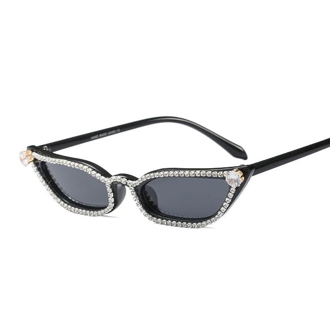 f3408e6f0aaa Rhinestone Sunglasses Cat Eye Women Luxury Small Sun Glasses Women Beach  Summer (black)