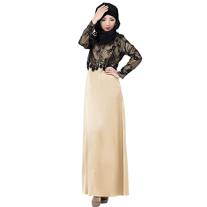 BOZEVON Mujeres Elegante Moda Encaje Empalme de Color Vestido de Musulmán Árabe Túnica Manga Larga Largos