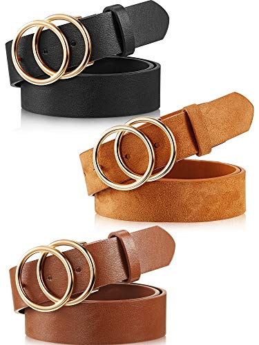 3 Pack Women's Leather Belt Faux Leather Belts With Double O-Ring Buckle