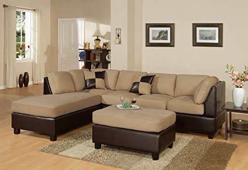 BOBKONA Hungtinton Microfiber/Faux Leather 3-Piece Sectional Sofa Set, Hazelnut