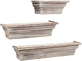 MyGift Rustic Torched Wood Wall-Mounted Storage Display Shelves with Wooden Brackets Set of 2 SHOMHNK004