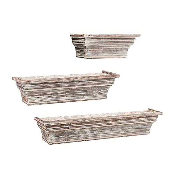 MyGift Rustic Torched Wood Wall Mounted Display Floating Shelves, Set of 3, Brown - A set of 3 wall mounted torched whitewash finish wood floating shelves in assorted sizes. Perfect for creating a unique decorative display on any wall in your home with photos, plants, collectibles and more. Simple to mount on any wall using the pre-drilled slots on the back of each shelf (mounting hardware not included). - wall-shelves, living-room-furniture, living-room - 51tK3Tf1HgL. SS570  -