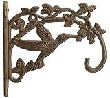 "Decorative Cast Iron Plant Hanger Hummingbird 7.5"" Deep"