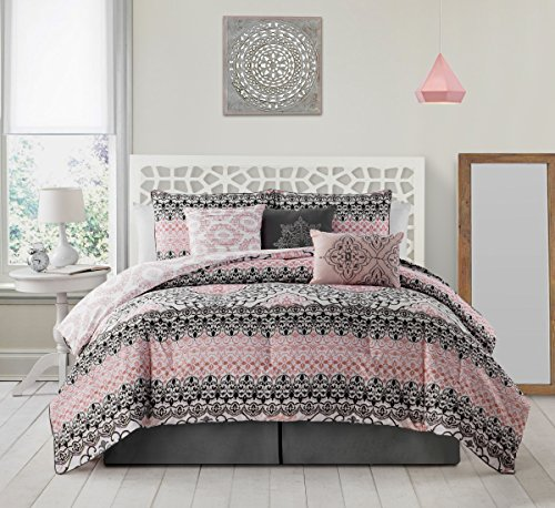 Avondale Manor Celia 7 piece Comforter Set Queen, Grey/Pink