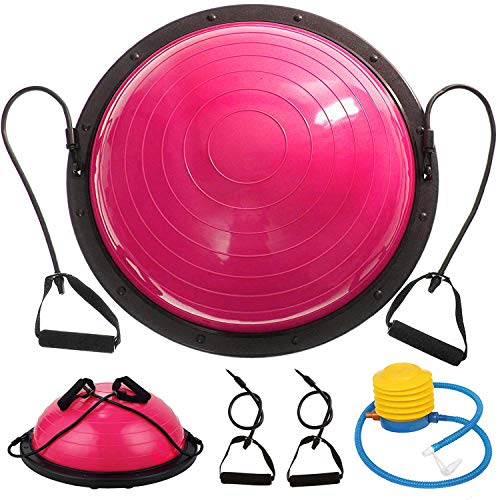VEVOR Balance Trainer Ball 23 Inch Balance Trainer Blue Yoga Balance Ball Fitness Strength Exercise Workout with Resistance Bands and Pump (Pink) from VEVOR
