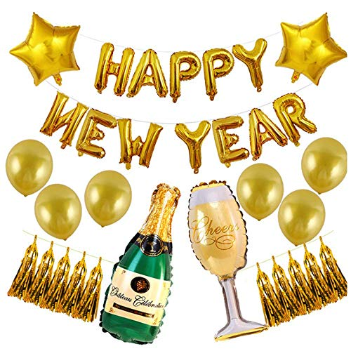 Happy New Year Balloons Kit Decorations, Champagne Bottle and Wine Goblet Foil Balloon Banner Tassel Gold Latex Balloon with Air Pump for Graduation Decorations New Years Eve Party Supplies (Best Wine Of The Year)