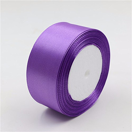 AKOAK 2 inches 25 Yards Purple Satin Ribbon Perfect for Wedding, Gift Wrapping (Fabric Purple Ribbon)