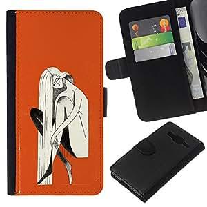 KingStore / Leather Etui en cuir / Samsung Galaxy Core Prime / Naranja Mujer Rubia Pintura