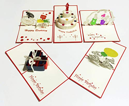 (3D Popup Happy Birthday Cards (Set of 5 Assorted Pop Up Cards) Custom Designed Kirigami on Elegant Paper)