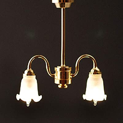 Melody Jane Dollhouse 2 Arm Chandelier Frosted Tulip Shades Down 12V Electric Lighting: Toys & Games