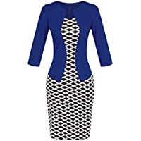 Conina Dress for Women Colorblock Plaid Wear to Work Business Party Bodycon Dress