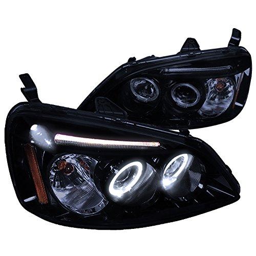 Spec-D Tuning 2LHP-CV01G-TM Honda Civic Dual Halo Led Glossy Black Projector Headlights (Civic Spec D Tuning)