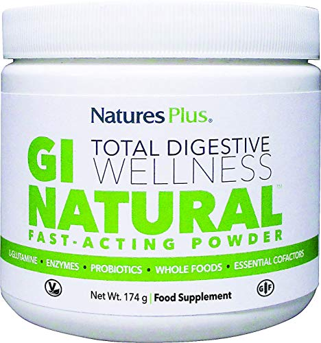Natures Plus GI Natural Drink Powder - .38 lb - Natural Gut Health Supplement with Whole Foods, Probiotics, Prebiotics, Enzymes - Vegetarian, Gluten Free - 30 Servings