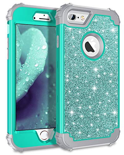 Pandawell Compatible iPhone 6s Plus Case iPhone 6 Plus Case, Glitter Sparkle Bling Heavy Duty Hybrid Armor High Impact Shockproof Cover Case for iPhone 6s Plus/6 Plus, Shiny Teal