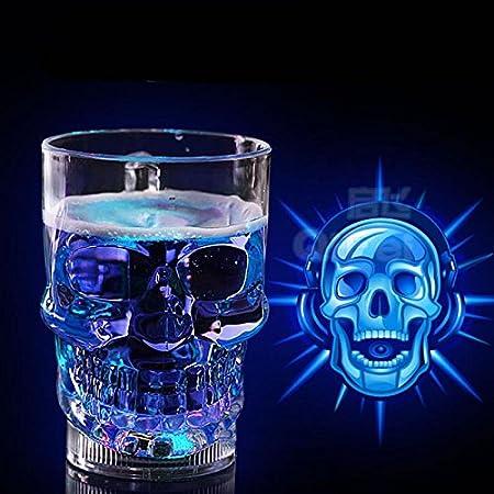 Taza de Cristal con diseño de Calavera de Cabeza de LED 3D, Vaso de Cristal Vodka Whisky Bar Party Drink Gift