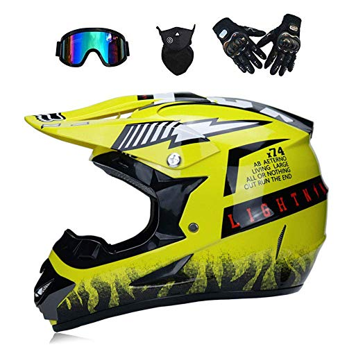 LLQ MX Adult Motorbike Full Face Helme Motorcycle Road Race ATV Crash Helmet Off-Road Motorbike Karting Motocross Helmets Included Mask Gloves Goggles (Yellow, ()