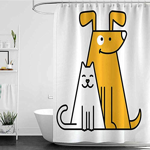 Tim1Beve Long Shower Curtain,Cartoon Cats and Dogs Human Best Friends Forever Kids Nursery Room Art Print,Shower Curtain with Hooks,W55x84L Black White and Apricot_1