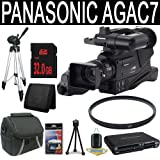 Panasonic AG-AC7 AVCCAM Handheld Camcorder + 32GB SDHC Class 10 Memory Card + 49mm UV Filter + Carrying Case + Full Size Tripod + Multi Card USB Reader + Memory Card Wallet + Deluxe Starter Kit