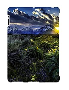 Exultantor Faddish Phone Sunset Mountains Field Flowers Landscape Case For Ipad 2/3/4 / Perfect Case Cover