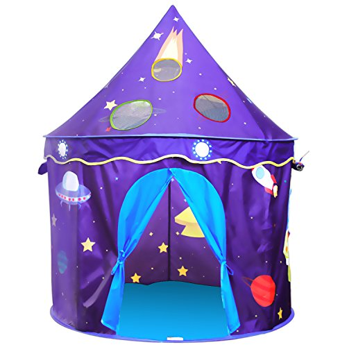 ALPIKA Castle Kids Tent Children Playhouse with Rocket Pattern Toy Play Tent with Carrying Case As a Gift for Boys&Girls -