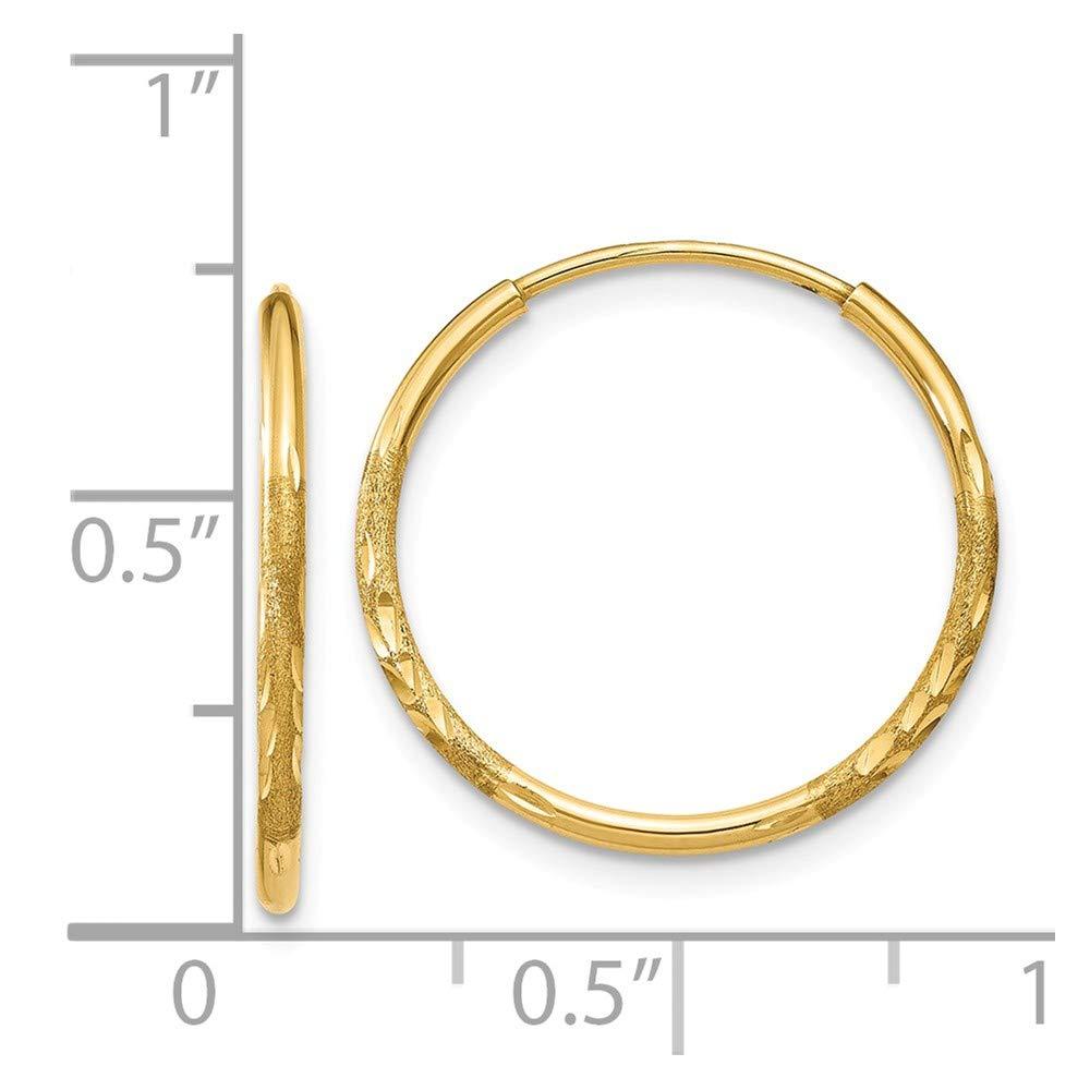 Mia Diamonds 14k Yellow Gold 1.25mm Diamond-cut Endless Hoop Earring
