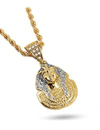 20K Gold Plated Pendant Necklace Chain, High Fashion Iced...