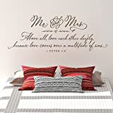 Old Barn Rescue Mr and Mrs Above all, love each other deeply | Master Bedroom Wall Decal - 1 Peter 4:8 - Christian Wall Decal