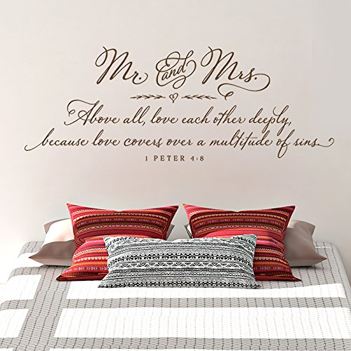 Old Barn Rescue Mr and Mrs Above all, love each other deeply   Master Bedroom Wall Decal - 1 Peter 4:8 - Christian Wall Decal
