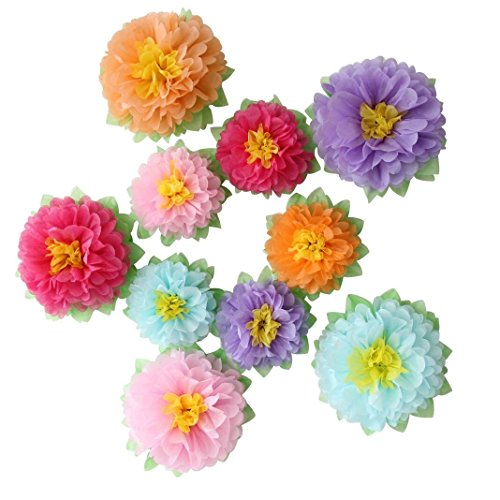 Mybbshower Colorful Paper Flowers for Kids Birthday Party Backdrop Baby Room Nursery Wall Decor Pack of 10