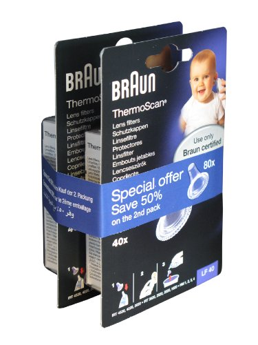 Braun Ear Thermometer Lens Filters Pack of 80 Kaz Consumer Products UK Ltd PROMO-LF40EULA