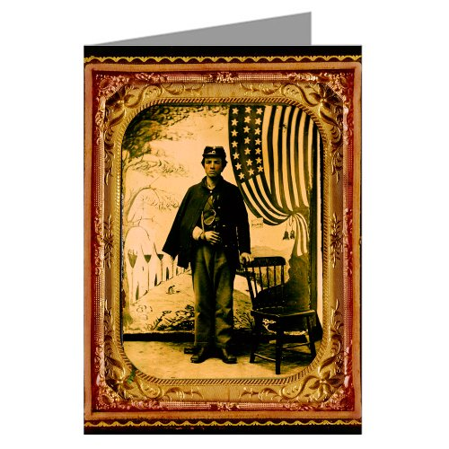 Price comparison product image 1 Vintage Greeting Cards of Union soldier in uniform with arm in sling in front of painted backdrop showing military camp and American flag from the Civil War
