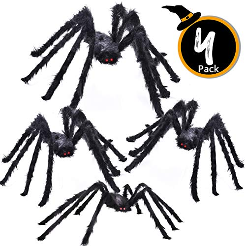 Giant Spider Halloween Decoration (4 Pack Halloween Giant Spider Spooky Hairy Spiders Halloween Indoor and Outdoor Yard Decoration Scary Creepy Black Spiders (Different)