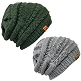 Bowbear 2 Piece Winter Knit Slouchy Beanie, Forest Green and Gray