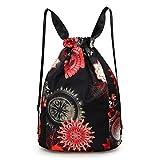 Women Drawstring Bag Gymbag Drawstring Backpack Nylon Travel Sports Yoga Gym Drawstring Bag Gymsack Backpack (Black)