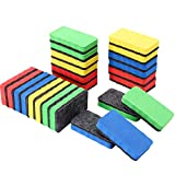 Sunshane 24 Pack Magnetic Whiteboard Dry Eraser Chalkboard Cleanser Chalk Eraser for Home School and Office(4 Colors, 4.02 x 2.17 Inch)