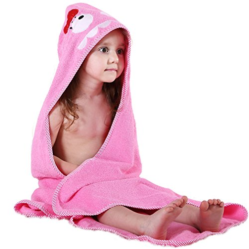 Hooded Embroidered Towel - MICHLEY Animal Face Hooded Baby Towel Cotton Bathrobe for Boys Girls 0-6 Year Pink