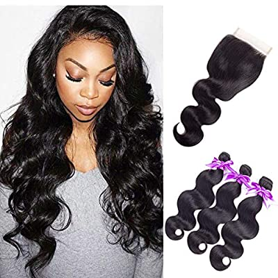 Brazilian Body Wave Hair Bundles With Closure Mix Size By Snowhair