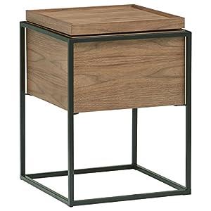 Amazon Brand – Rivet Axel Lid Storage Wood and Metal Side End Table Nightstand, Walnut