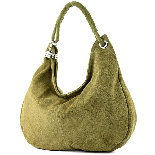 Bolso italiano para mujer shopper bandolera cuero auténtico T02 Olivgrün