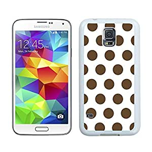 Custom Samsung Galaxy S5 Case Protective <Neo Hybrid> <Satin Silver> Slim Fit Dual Protection Cover for Galaxy S5 and Galaxy S5 Prime(2015)-Satin Silver,,Polka Dot White and Dark Brown Samsung Galaxy S5 Case White Cover